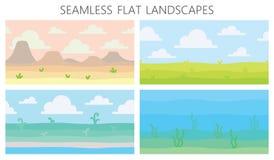 Mjuka naturlandskap Öken med berg, grönt sommarfält, kust, växter, undervattens- sikt med havsväxt vektor royaltyfri illustrationer