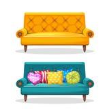 Mjukt färgrikt hemlagat för soffa, uppsättning 7 Arkivbild