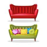 Mjukt färgrikt hemlagat för soffa, uppsättning 6 Royaltyfri Fotografi