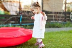 Mjukt fokusfoto av den lilla lockiga flickan med två svansar som går i trädgården på det gröna gräset Fotografering för Bildbyråer