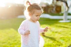 Mjukt fokusfoto av den lilla lockiga flickan med två svansar som går i trädgården på det gröna gräset Arkivbilder