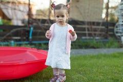 Mjukt fokusfoto av den lilla lockiga flickan med två svansar som går i trädgården på det gröna gräset Arkivfoton