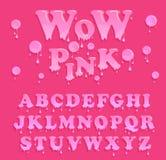 Mjukt rosa färggeléalfabet Glansig brevhuvuddesign Vektorgodisbokstäver Arkivbilder