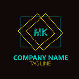 MK Letter  Logo Design. Sign, symbol, element isolated on black background Stock Images