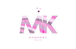 Mk m k alphabet letter logo pink purple line icon template vecto Royalty Free Stock Images