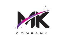 MK M K Black Letter Logo Design with Purple Magenta Swoosh. And Stars Stock Images