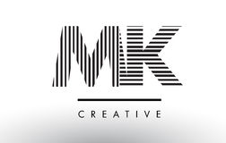 MK M K Black and White Lines Letter Logo Design. MK M K Black and White Letter Logo Design with Vertical and Horizontal Lines Stock Photography