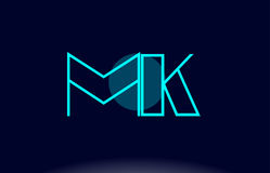 Mk m k blue line circle alphabet letter logo icon template vecto Stock Photography