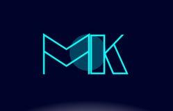 Mk m k blue line circle alphabet letter logo icon template vecto. Mk m k blue line circle letter logo alphabet creative company vector icon design template Stock Photography