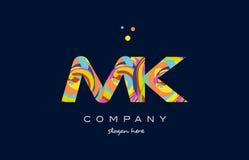Mk m k colorful alphabet letter logo icon template vector. Mk m k alphabet letter logo colors colorful rainbow acrylic font creative text dots company vector Stock Image