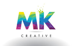 MK M K Colorful Letter Origami Triangles Design Vector. Royalty Free Stock Photos