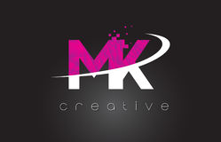 MK M K Creative Letters Design With White Pink Colors Stock Images