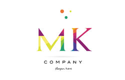 Mk m k  creative rainbow colors alphabet letter logo icon Royalty Free Stock Photo