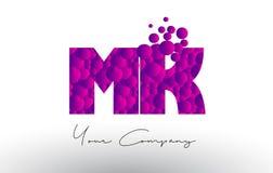 Mk M K Dots Letter Logo avec la texture pourpre de bulles Photo stock