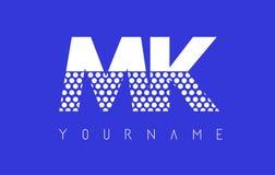 MK M K Dotted Letter Logo Design with Blue Background. MK M K Dotted Pattern Letter Logo Design Vector with Blue Background Royalty Free Stock Photo