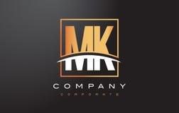 MK M K Golden Letter Logo Design with Gold Square and Swoosh. MK M K Golden Letter Logo Design with Swoosh and Rectangle Square Box Vector Design Royalty Free Stock Photo