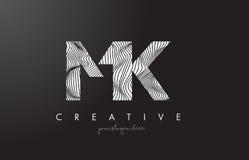 Mk M K Letter Logo avec des lignes vecteur de zèbre de conception de texture Photographie stock libre de droits