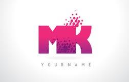Mk M K Letter Logo avec la couleur et les particules pourpres roses Dots Des Photos libres de droits