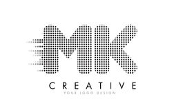 MK M K Letter Logo with Black Dots and Trails. Stock Photos