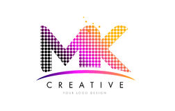 MK M K Letter Logo Design with Magenta Dots and Swoosh. MK M K Dots Letter Logo Design with Magenta Bubble Circles and Swoosh Royalty Free Stock Images