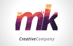MK M K Letter Logo Design with Purple Forest Texture Flat Vector Royalty Free Stock Image