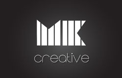 MK M K Letter Logo Design With White and Black Lines. Stock Image