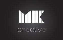 MK M K Letter Logo Design With White and Black Lines. MK M K Creative Letter Logo Design With White and Black Lines Stock Image