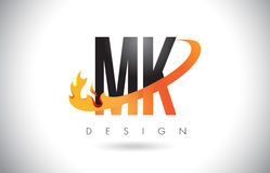 MK M K Letter Logo with Fire Flames Design and Orange Swoosh. Stock Photo
