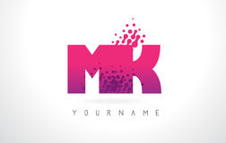MK M K Letter Logo with Pink Purple Color and Particles Dots Des. MK M K Letter Logo with Pink Letters and Purple Color Particles Dots Design Royalty Free Stock Photos