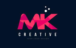 MK M K Letter Logo with Purple Low Poly Pink Triangles Concept. MK M K Purple Letter Logo Design with Low Poly Pink Triangles Concept Stock Photo