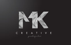 MK M K Letter Logo with Zebra Lines Texture Design Vector. Royalty Free Stock Photography