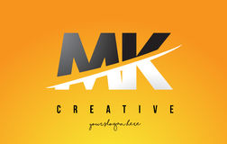 MK M K Letter Modern Logo Design with Yellow Background and Swoo. MK M K Letter Modern Logo Design with Swoosh Cutting the Middle Letters and Yellow Background Stock Photography