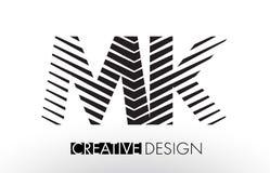 Mk M K Lines Letter Design avec le zèbre élégant créatif Photographie stock
