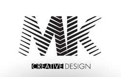 MK M K Lines Letter Design with Creative Elegant Zebra Stock Photography