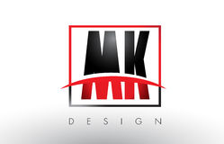MK M K Logo Letters with Red and Black Colors and Swoosh. Royalty Free Stock Photography