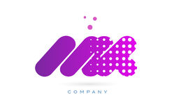 Mk m k pink dots letter logo alphabet icon Stock Photography