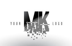 MK M K Pixel Letter Logo with Digital Shattered Black Squares Royalty Free Stock Photography