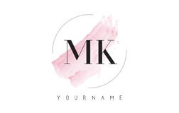 MK M K Watercolor Letter Logo Design with Circular Brush Pattern. MK M K Watercolor Letter Logo Design with Circular Shape and Pastel Pink Brush Royalty Free Stock Photography