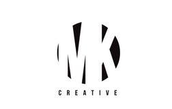 Mk M K White Letter Logo Design avec le fond de cercle Photos libres de droits