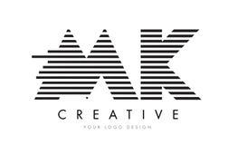 MK M K Zebra Letter Logo Design with Black and White Stripes. Vector Royalty Free Stock Photo