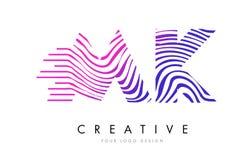 MK M K Zebra Lines Letter Logo Design with Magenta Colors. MK M K Zebra Letter Logo Design with Black and White Stripes Vector Stock Image