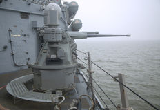 MK-38 25mm chain gun aboard the guided-missile destroyer USS Cole during Fleet Week 2014 Stock Image