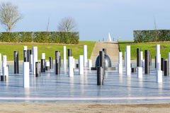 The MK Rose monument and pillars under cloudy sky, Milton Keynes Stock Images