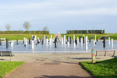 The MK Rose monument and pillars under cloudy sky, Milton Keynes Stock Photo