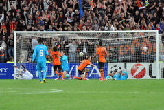 Mkhitaryan kicked second goal. During the match between Shakhtar (Donetsk City) and Nordsjælland (Farum, Denmark). UEFA Champions League. Group Stage. Matchday Stock Photos