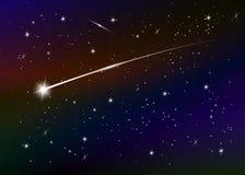 Mknącej gwiazdy tło przeciw zmrokowi - błękitny gwiaździsty nocne niebo, wektorowa ilustracja royalty ilustracja