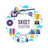 Mknący Skeet Set elementy lokalizować w okręgu _ obrazy royalty free