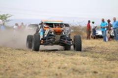 Mknięcia Zarco wiecu pomarańczowy samochód przy początkiem rasa Zdjęcie Stock