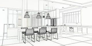 Mäktigt kök för arkitektplan Royaltyfri Bild