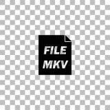 MKV icon flat. MKV. Black flat icon on a transparent background. Pictogram for your project stock illustration